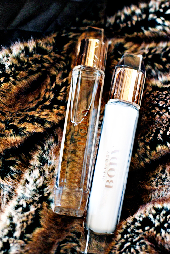 Burberry Body Eau de Parfum on my Faux Fur Throw // Belle Belle Beauty