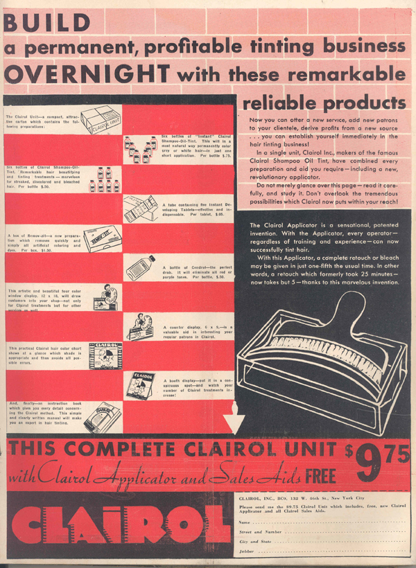 1934 Clairol Print Ad - The Complete Clairol // Belle Belle Beauty