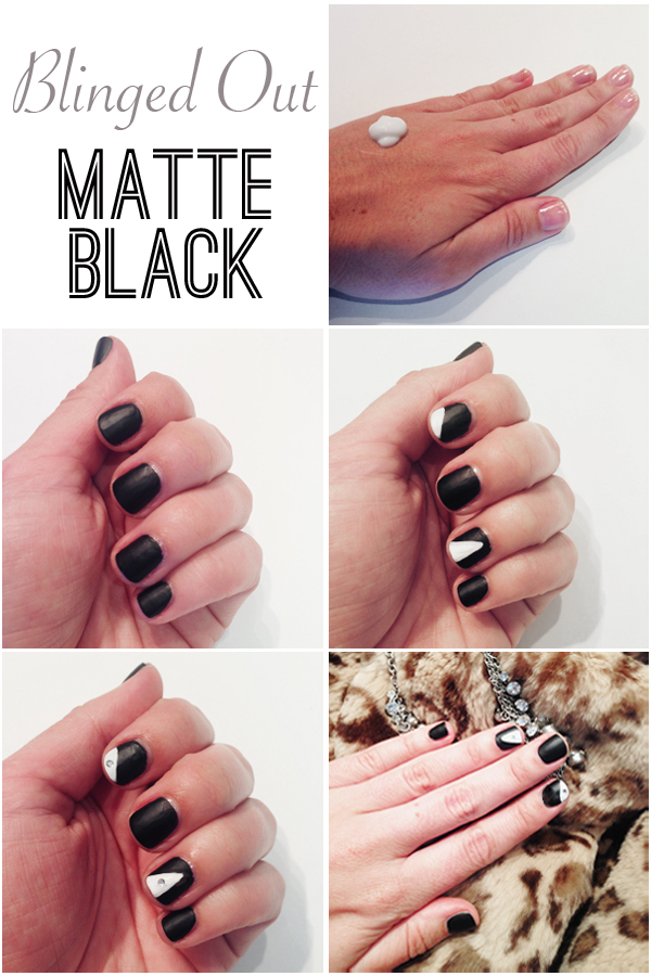 Blinged Out Matte Black Nails // Belle Belle Beauty