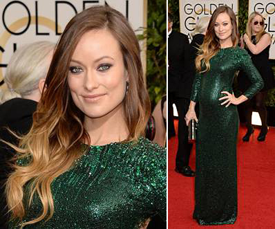 Olivia Wilde at the Golden Globes on Belle Belle Beauty