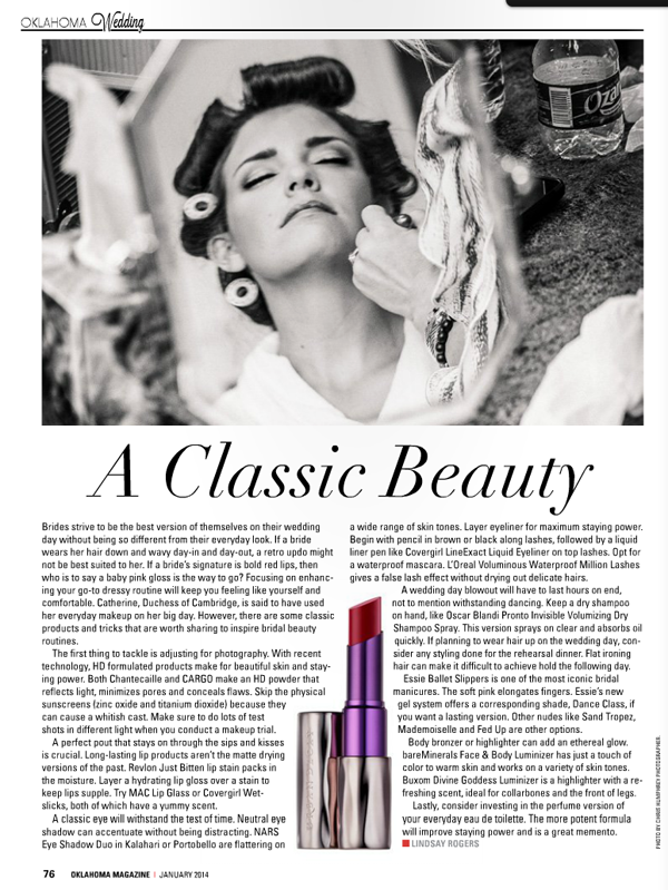 Bridal Beauty Tips in Oklahoma Magazine on Belle Belle Beauty