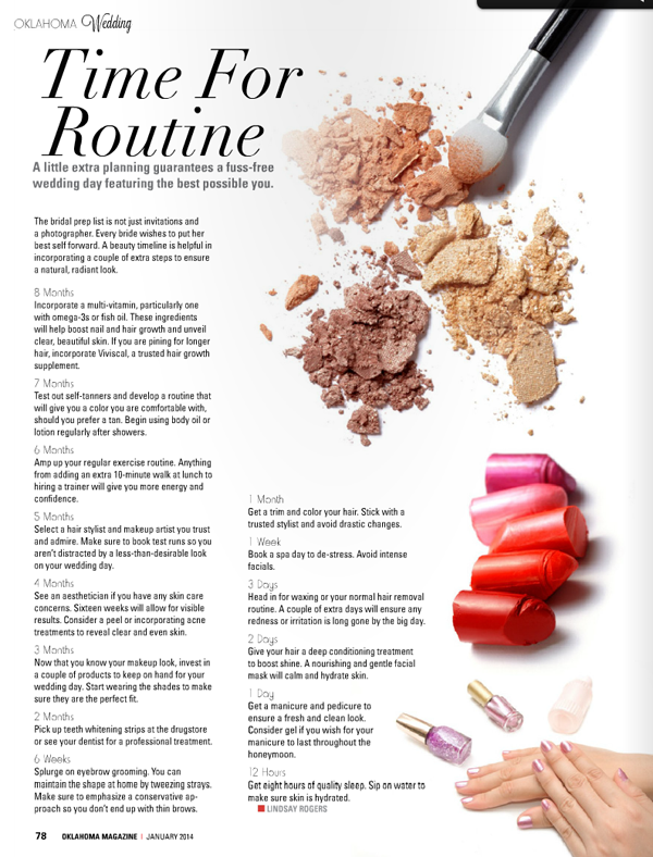 Wedding Hair And Makeup Timeline : Bridal Beauty in Oklahoma Magazine - Belle Belle Beauty Blog